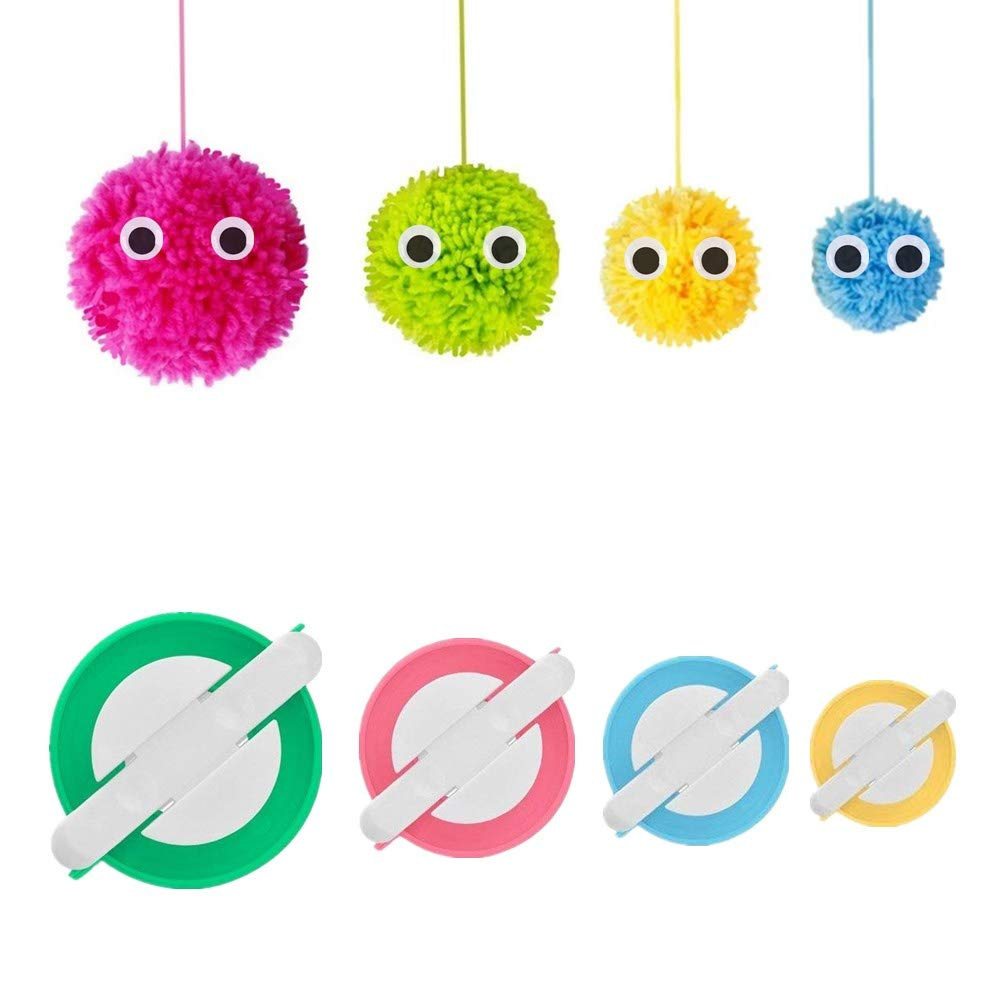 Pom Pom Maker, 4 Sizes Pompom Maker Tool Set for Fluff Ball Weave DIY Wool Yarn Knitting Craft Project for Kids and Adult RRigo