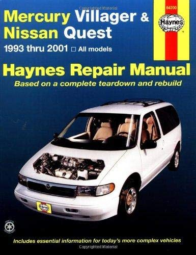 Nissan Owners Manual Quest (Mercury Villager and Nissan Quest, 1993-2001 (Haynes Repair Manuals))