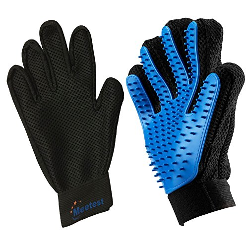 Meetest Pet Grooming Glove-Massage Tool Cleaning Shower Gentle Deshedding Brush Hair Remover Mitt with Enhanced Five Finger Design Long & Short Fur Comb for Dogs/Cats One Pair [New Version]