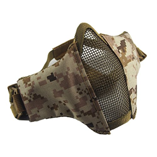 Annay Airsoft Mask, Foldable Half Face Steel Mesh Masks Adjustable Tactical Lower Face Protective Mask with Two Strap for Airsoft Hunting Paintball Shooting (Digital (Acu Digital Desert Goggles)