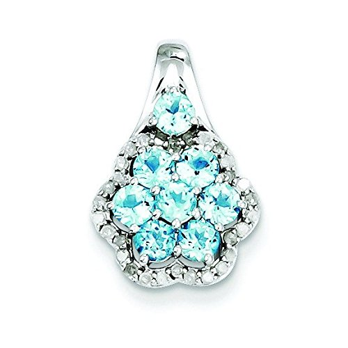 Argent Sterling diamant et topaze bleu suisse JewelryWeb Clair pendentif fleur