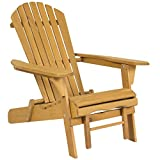 Best Choice Products SKY2254 Outdoor Patio Deck Garden Foldable Adirondack Wood Chair with Pull Out Ottoman