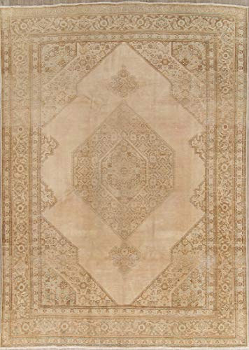 Rug Source Hand Knotted Wool Tabriz Persian Oriental Vintage Distressed Area Rug 8x11 Brown (11' 0