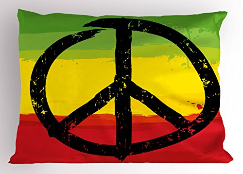(Ambesonne Rasta Pillow Sham, Grunge Style Watercolor Design African Flag Colors Hippie Peace Sign, Decorative Standard Queen Size Printed Pillowcase, 30 X 20 Inches, Black Green Yellow and Red)