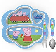 Zak Designs Peppa Pig Kids Dinnerware Set Includes Melamine 3-Section Divided Plate and Utensil Tableware, Mad