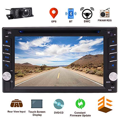 EINCAR Bluetooth Car CD DVD Player 6.2 Inch Capacitive Touch Screen in Dash GPS Navigation Double Din Car Stereo Head Unit Radio Receiver with Auto Audio Video Monitor System SD map + Backup Camera (In Dash Gps Navigation Systems For Cars)