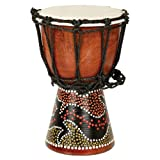 This Mini Djembe is hand carved with a hand painted gecko design. Each one comes equipped with a goatskin head and beaded core rope runners.