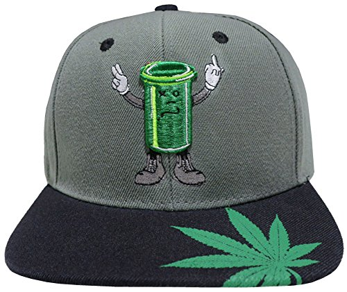 Marijuana-KUSH-Pot-Leaf-Weed-Cannabis-Embroidered-Flat-Bill-Snapback-N31-CharcoalBlack