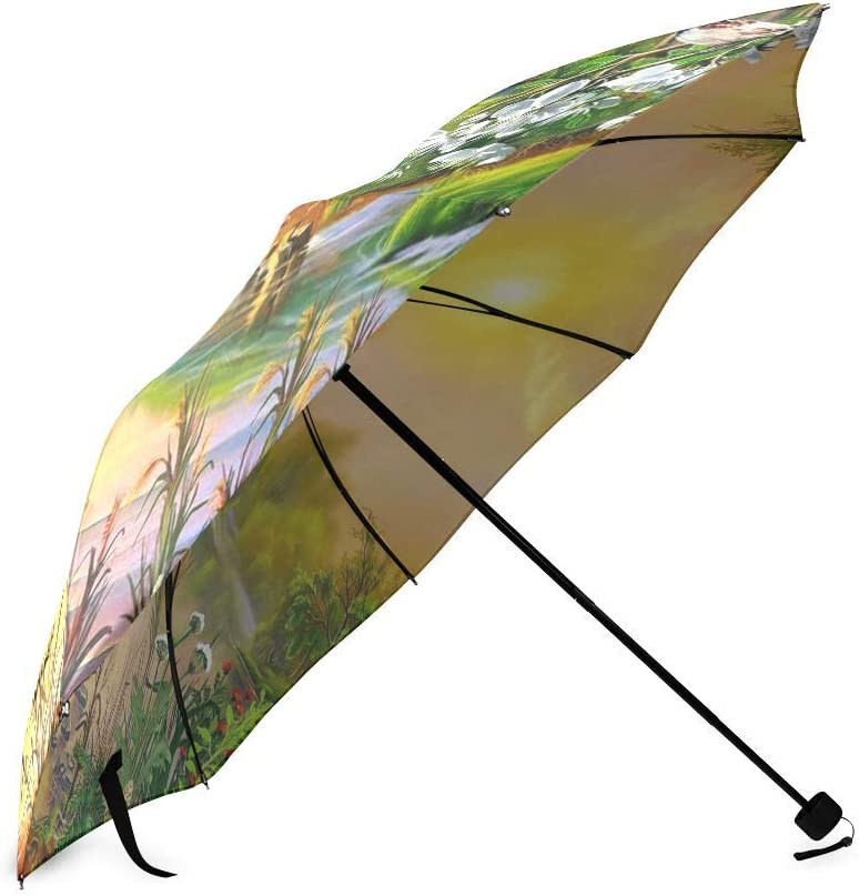 foldable Umbrella Custom Beautiful Landscape Nature Spring Sun House River Bird Blossoming Trees Compact Travel Windproof Rainproof