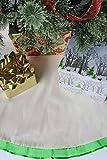 Mistletoe Mill 48 inch Christmas Tree Skirt, CREAM Cotton with Green Ruffled Ribbon Trim
