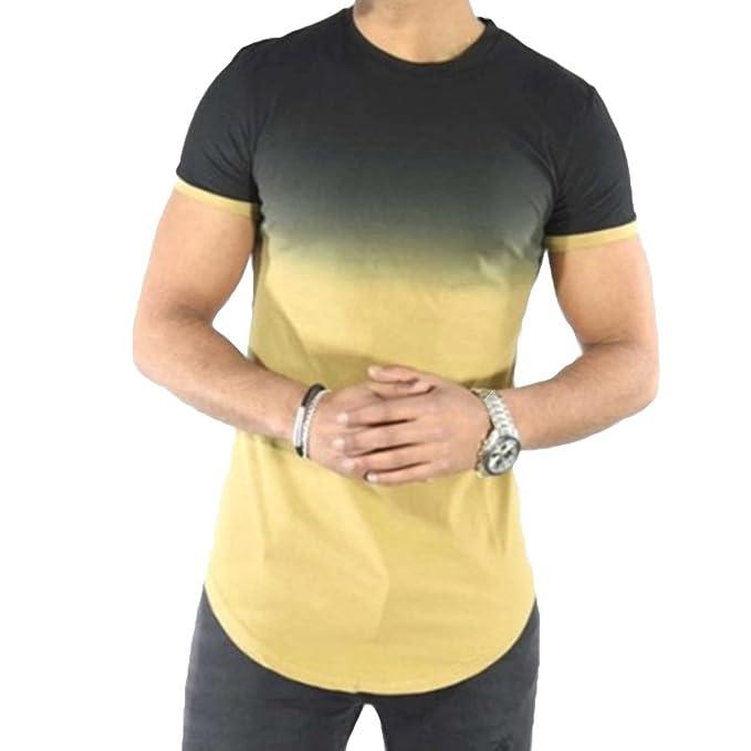 Yying Camisas para Hombre Patchwork de Manga Corta Blusa para Hombre Ronda Cuello Tops Camisas Aire