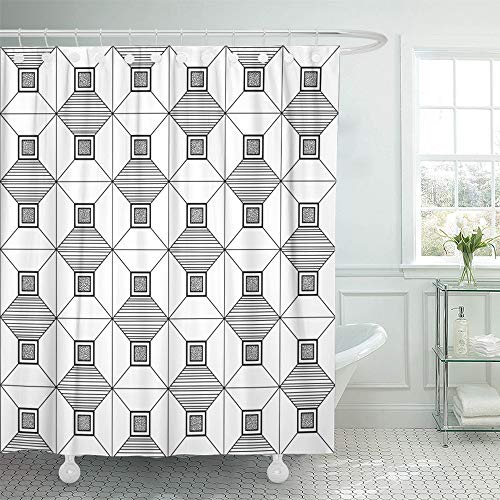 Emvency Shower Curtain Set Waterproof Adjustable Polyester Fabric Graphical Black and White Zentangle Geometrical Endless Ornamental Adult 60 x 72 Inches Set with Hooks for Bathroom ()