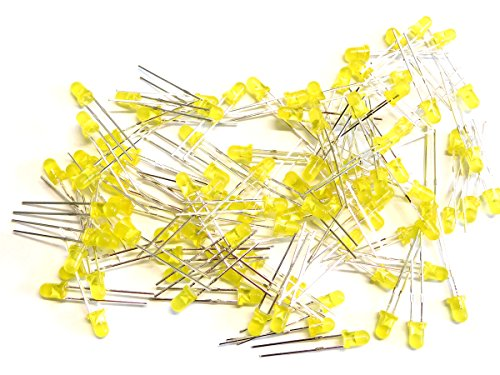 Leds T1 3mm (100 pcs LED yellow 3mm, tinted, clear, T-1 package)