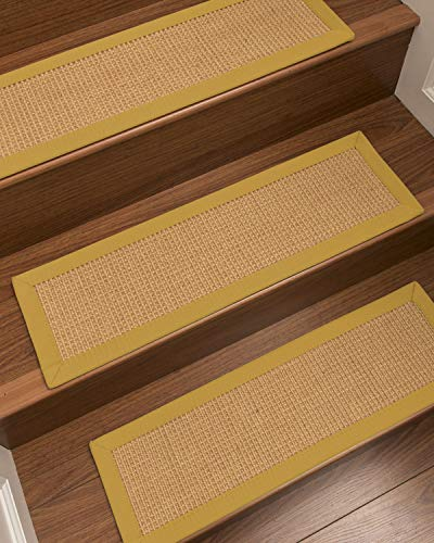 NaturalAreaRugs Heavy Boucle Sisal Stair Treads, Tan Border, Set of 13 - #8591/8592