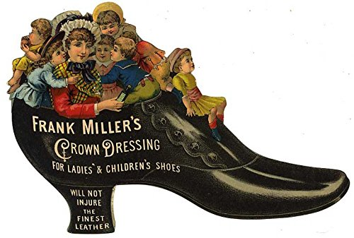 Frank Miller's Crown Dressing (Vintage Victorian Die-Cut Trade Card Advertising) - Will Not Injure the Finest Leather