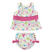 i play. Baby Girls 2pc Bow Tankini Swimsuit Set with Snap Reusable Absorbent Swim Diaper, White Sea Pals, 24mo