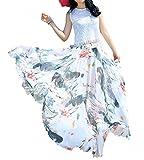 Afibi Women Full/Ankle Length Blending Maxi Chiffon Long Skirt Beach Skirt (Medium, Design M(8))