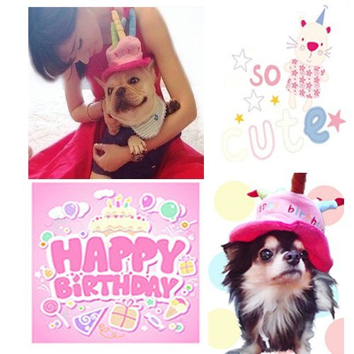 Universal Dog Birthday Hats Gift With Cake And Candles For Puppy Small Cats Dogs Pink Arts Entertainment Party Celebration Supplies
