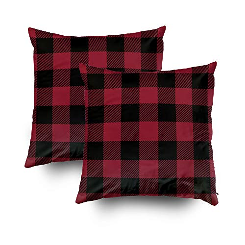 Musesh Pack of 2 Black and red Preppy Buffalo Check Plaid Outdoor Cushions Case Throw Pillow Cover for Sofa Home Decorative Pillowslip Gift Ideas Household Pillowcase Zippered Pillow Covers 20X20Inch ()