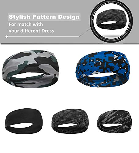 Unisex Running Headband Set of 5 Sport Yoga Headbands for Women & Men Moisture Wicking Workout Sweatbands for Fitness, Cross Training, Gym Exercise Athletic Wrap Bands