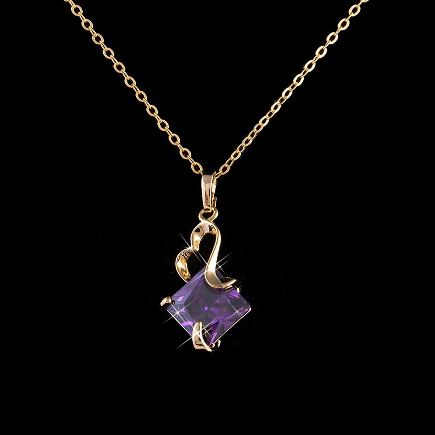 Yazilind Women's Alloy Crystal Square Pendant Necklace Jewelry Party Supplies JPBf4yZ6J