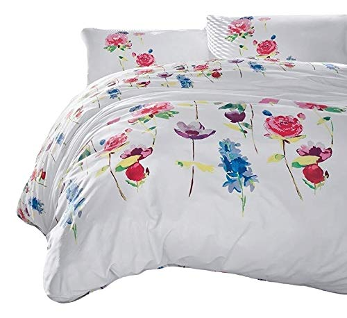 Cotton Box Spring Flowers 100% Breathable Cotton Fabric Duvet Cover Floral Bedding Set Reversible (Queen)