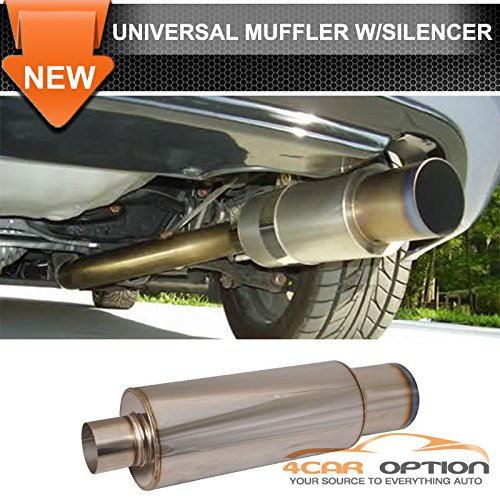 Audi A4 A6 Stainless Steel Exhaust Muffler N1 4 Inch Flat Color Tip WithSilencer (4