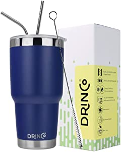 DRINCO - 30 oz Stainless Steel Tumbler | Double Walled Vacuum Insulated Mug With Spill Proof Lid, 2 Straws, For Hot & Cold Drinks (Royal Blue, 30 oz)