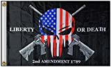 ALBATROS 3 ft x 5 ft Police Punisher Skull 2nd Amendment Liberty or Death 3 ft x 5 ft Flag Banner 100D for Home and Parades, Official Party, All Weather Indoors Outdoors