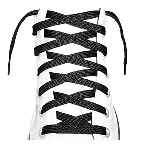 Long Shoelaces - Flat Shoe Laces 45 inch, 54 inch, 63 inch (72 Inch, Black)