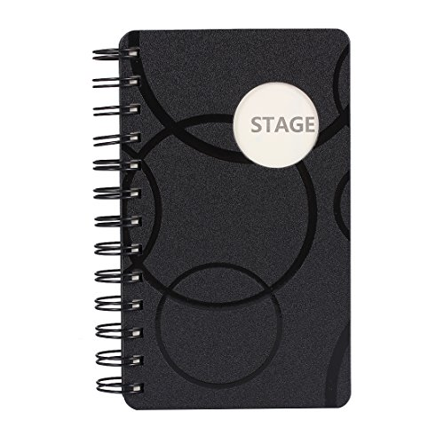 Shuter Multifunction Spiral Diary Notebook with Tabs and notes, 80 Sheets, 7 x 5 Inches Notepad (Black)