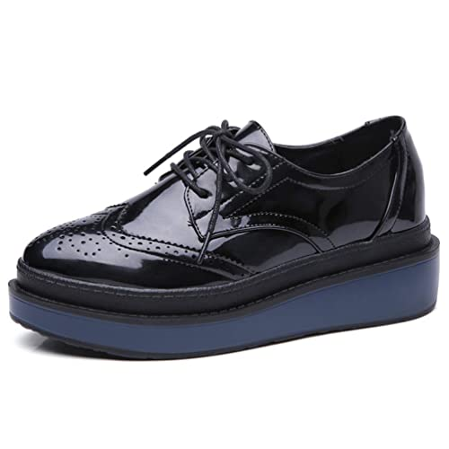 Zapatos De Plataforma Plana para Mujer Brogue Charol Lace Up Round Toe Creepers Cruzados Flat Ladies Casual Oxfords Calzado: Amazon.es: Zapatos y ...