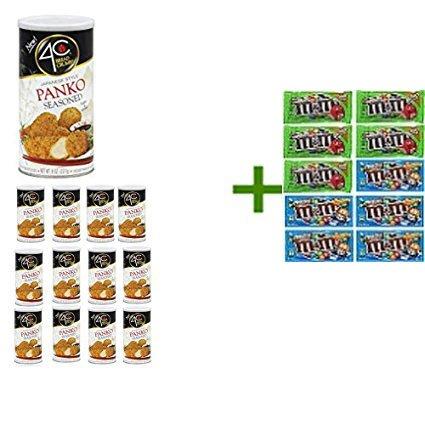 4C Japanese Style Panko Seasoned Bread Crumbs 8 OZ (Pack of 13) + 10 Pack of M&M Milk Chocolate 1.69oz ( BUNDLE )