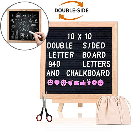 Changeable Felt Letter Board with Chalkboard 10x10 Inch, Double Sided Letter Board with 940 Letters +Stand +Canvas Bag +More, Message Board Black Word Board for Classroom, Home, Office by Aufisi -