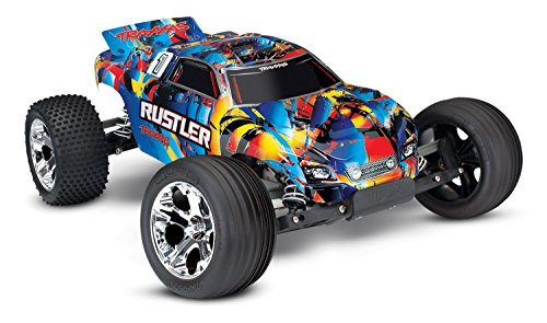 Traxxas 370544 Rustler: 1 10 Scale 2WD Stadium Truck with TQ 2.4ghz Radio System Road - Rock n' Roll