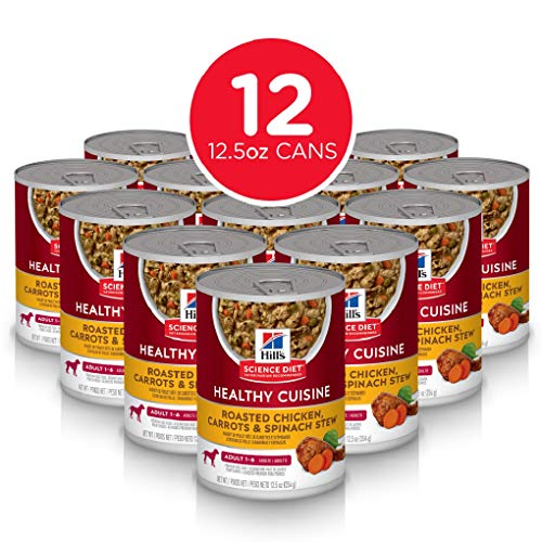 Hill's Science Diet Wet Dog Food, Adult, Healthy Cuisine, Roasted Chicken Carrots & Spinach Recipe, 12.5 oz Cans, 12 Pack