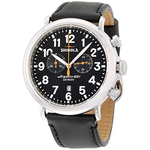 Shinola The Runwell Black Dial Leather Strap Men's Watch S0100051