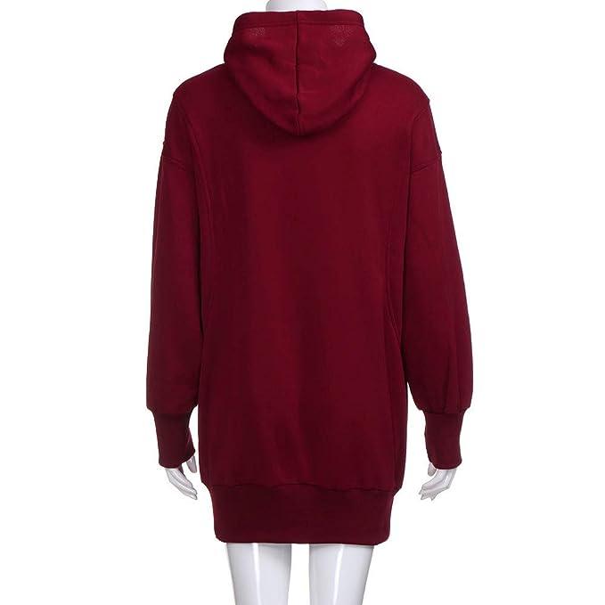 Yonlanclot Sweatshirt Women s Solid Color Hooded Long Sweater Fashion  Cotton Solid Color Clothes Hoodies Drawstring Pullover Coat Long Hoody  Sweatshirt  ... c7d8dd385