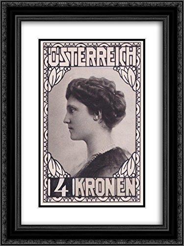 (Koloman Moser 2X Matted 20x24 Black Ornate Framed Art Print 'Stamp Design Empress Zita (not Accepted)')