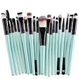 KOLIGHT 20 Pcs Pro Makeup Set Powder Foundation Eyeshadow Eyeliner Lip Cosmetic Brushes (Black+Green)