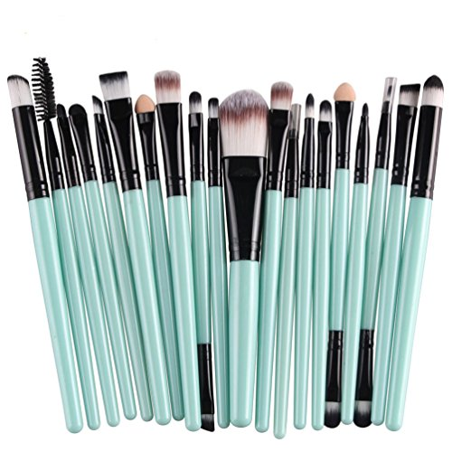 KOLIGHT 20 Pcs Pro Makeup Set Powder Foundation Eyeshadow Eyeliner Lip Cosmetic Brushes (Black+Green)