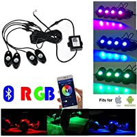 4 Pods of Bluetooth RGB LED Rock Lights Timing Function, Music Mode - Neon LED Under glow Light Kits for Offroad jeep wrangler jk jku Boat Trail Rig Lamp