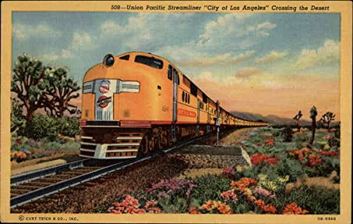 Union Pacific Streamliner City of Los Angeles Crossing the Desert Original Vintage - Angeles Los Colortone