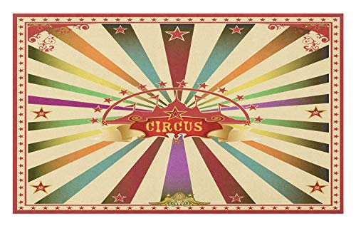 Ambesonne Circus Doormat, Colorful Retro Circus Invitation or Advertisement for Audience with Tent Silhouette, Decorative Polyester Floor Mat with Non-Skid Backing, 30 W X 18 L Inches, Multicolor