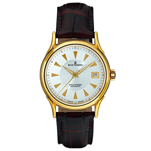 Revue Thommen Men's 'Wallstreet' Swiss Automatic Stainless Steel and Leather Casual Watch, Color:Brown (Model: 20002-2518)