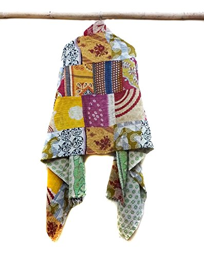 Vintage Dupatta Scarf Cotton multi color Hijab Hand Embroidered Kantha Stole patchwork