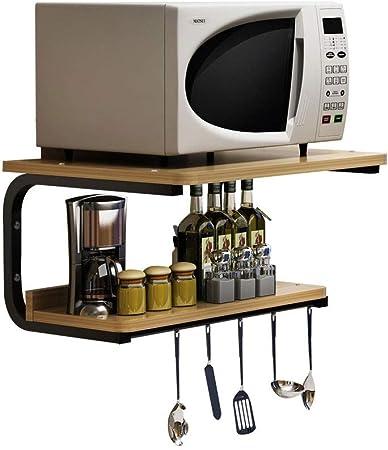 Baldas Apilables Estantería Rack de cocina Horno de microondas Rack de pared Horno de cocina de cocina Rack de almacenamiento Rack de soporte Rack de almacenamiento de doble pared (Color : Beige):
