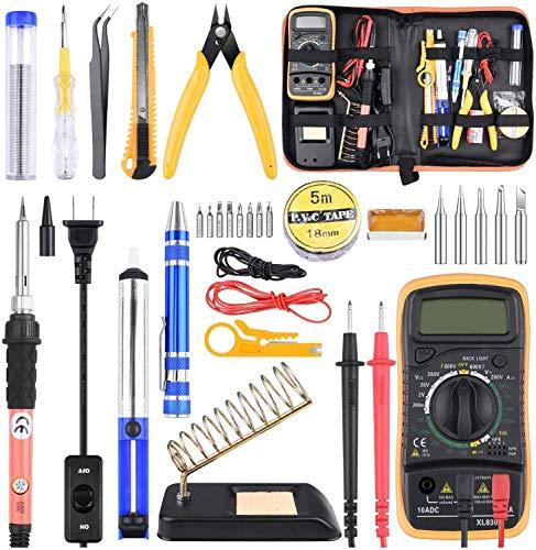 ETEPON Soldering Iron Kit with Digital Multimeter, Upgraded Soldering Iron Kit Electronic Soldering Tools Best for Soldering, Electric, Jewellery, Welding Work 24Pcs ET008