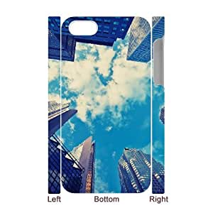 3D Nuktoe City IPhone 4/4s Case Skyscrapers Blue Sky Protective for Girls, Case for Iphone 4 S, {White}