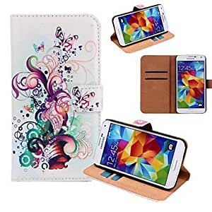 HJZ Fashion Painted Flowers Are Blooming Series Butterfly PU Full Body Case for Samsung Galaxy S5 I9600